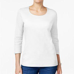 !!~ Bright White Cotton Scoop-Neck 3/4 Top ~!!